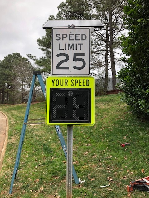 Radar Speed Signs Are Installed On Loch Highlands Drive